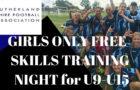 CANCELLED – SSFA Girls Only Free Skills Training night (U9-U15) Wednesday 25th March